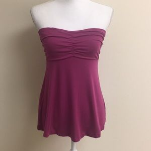 Express ruched strapless top in mulberry